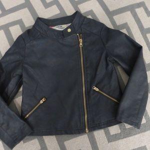 Oshkosh Pleather Jacket Grey/Navy Color Sz 5T